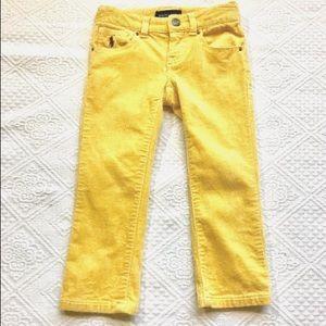 Ralph Lauren Girls 2T Corduroy Pants Mustard Jean